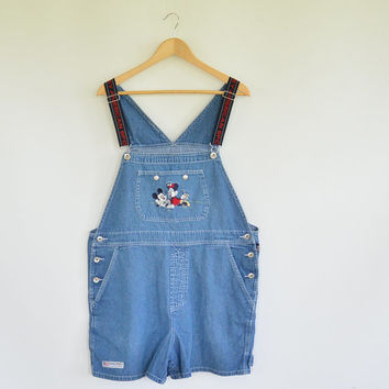 Mickey American Sport Short Denim Bib Overalls 1990's Mickeyand Minnie Mouse Elastic Shoulder Straps Size Large