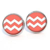 Chevron Coral Earrings Stud (434)