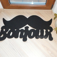 Doormat Bonjour with mustache. Elegant floor mat moustache. Welcome rug. Custom doormat