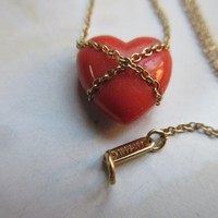 Tiffany & Co Natural Salmon Coral  14K Heart Necklace