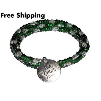 "Plus Size Elegance ""Live, Laugh, Love"" Emerald Green Silver Artisan Crafted Wrap Bracelet"