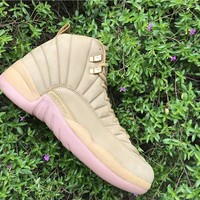 Nike Air Jordan 12 Retro PSNY Flax Wheat/Gum Light Brown AA1233-700 Basketball Sneaker