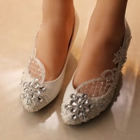 free shipping White Wedding Shoes office Shoes Bridesmaid/Bridal Shoes rhinestone lace Shoes High Heels Women Pumps size 41-44