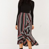 Asymmetrical Ruffled Stripe Skirt in Black Red
