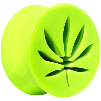 18mm Bright Green Acrylic Hollow Pot Leaf Double Flare Saddle Plug