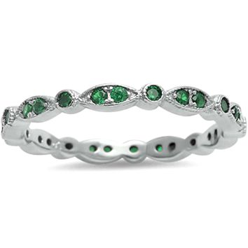 .925 Sterling Silver Marquise and Round Cut Emerald Eternity Ladies Ring Size 4-12 Midi Knuckle Stackable Green Eye