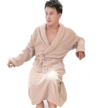 Terry Bathrobes Mens Winter 100% Cotton Bath robe Thickening Towel Sleepwear Long Kimono Robe Womens Dressing Gown