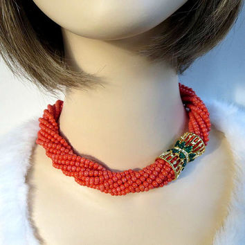 "KJL Signed ""Duchess of Windsor"" Faux Coral, Emeralds & Diamonds Torsade Necklace - Vintage MINT"
