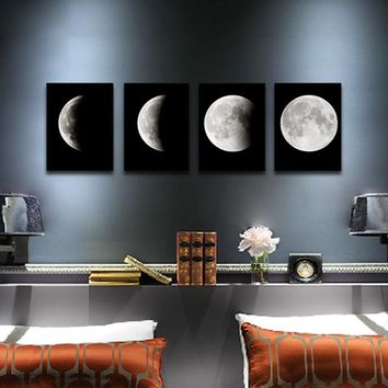 Canvas Print Wall Art Painting Pictures Home Decor Poster Abstract Moon Framed