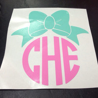 Bow and Monogram Vinyl Decal by christylous on Etsy