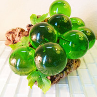 GIANT Vintage Mid Century Lucite Grape Cluster on Driftwood Emerald Green Globe Sphere Wood Tree Branch Fruit Decorative