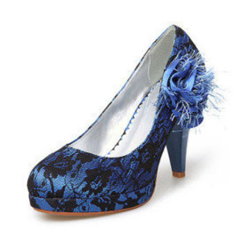 Cloth/ Lace Upper Chunky Heel Pumps With Stitching Lace/ Satin Flower Wedding Bridal Shoes - $67.67