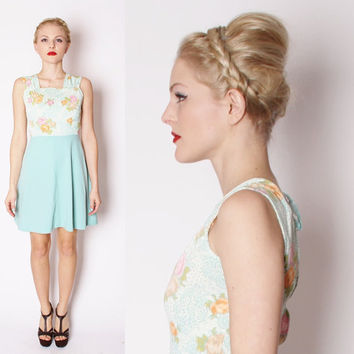 Vintage Mod Short Mini Skater Babdoll Dress in Mint Blue With Neon Coral Rose Bodice / 1960s Fashion / Mod Style / Rose Dress / Short / 1613