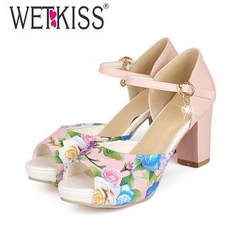 WETKISS Fashion Thick Heels Ankle Strap Mary Jane Sandals Flower Print Color Matching Peep Wedding Sandals Platform Sandals