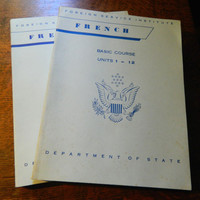 Pair of French Language Lesson Books from the Department of State - Foreign Service Institute - 1960 Edition