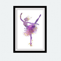 Ballerina print Ballerina poster Watercolor ballerina print Colorful ballerina poster Home decoration Kids room wall art Nursery decor  W322