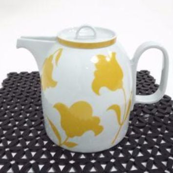 beautiful Vista Alegre Portugal TEAPOT GINGER Yellow Flowers Hearthstone Block