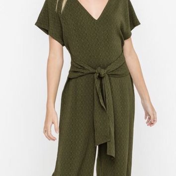 Make It Obvious Jumpsuit In Olive