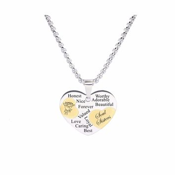 Two Tone Solid Stainless Steel Heart Pendant Necklace by Pink Box - SOUL SISTERS
