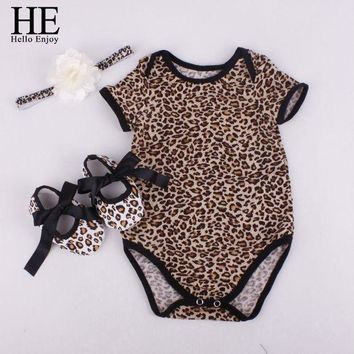 Baby girl clothes sets newborn short Leopard grain baby bodysuit (Short sleeve romper
