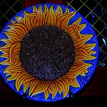majolica faience sunflower bowl by capecodgypsy on Etsy