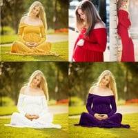 Maternity Pregnant Women Off Shoulder Photography Maxi Long Sleeve Dress