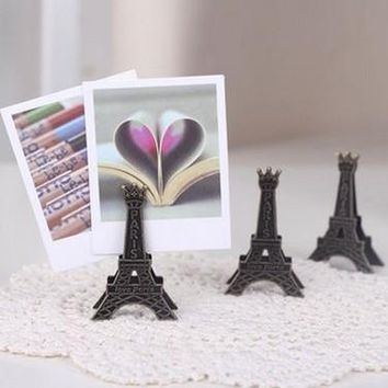 10pc/lot Eiffel Tower antique finish metal desk card note picture memo paper photo clip holder table wedding party place favor