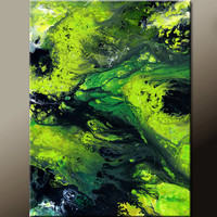 Abstract Art Canvas Painting 18x24 Contemporary Art Paintings by Destiny Womack - dWo - Emerald Sea