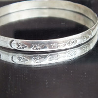 Star Moon and Sun Silver Bangle Bracelet, 925, Sterling, Fine Precious Metal Vintage Ladies Jewelry, Free Shipping and Gift Box