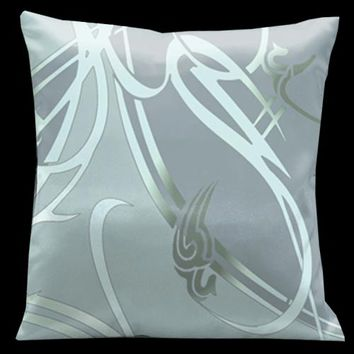 Lama Kasso 20 Precious Metals Glass with Silver Blue Accents 18 x 18 Satin Pillow
