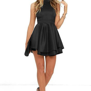 Little Black Cute Short Evening Dresses 2017 Halter Satin Informal Evening Party Dresses Custom Made