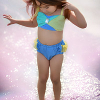 Ocean Sunrise Sunsuit/ Infant Bathing Suit/ Baby Swimsuit/ Photo Prop/ Ruffle Bikini for Baby