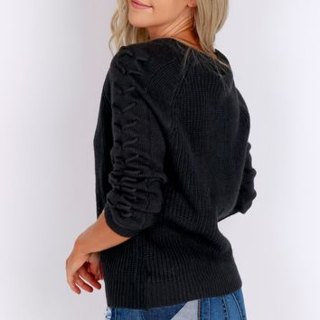Love On Me Lace Up Sweater Black