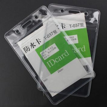 Transparent 20 Pieces/Lot Vertical ID Badge Holders Plastic Waterproof Clear Card Storage Free Shipping Office School Tools