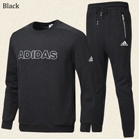 ADIDAS autumn and winter new plus velvet round neck men's warm sportswear two-piece Black