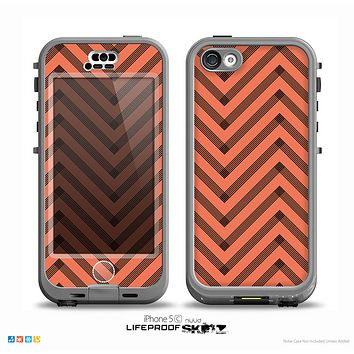 The Coral & Black Sketch Chevron Skin for the iPhone 5c nüüd LifeProof Case