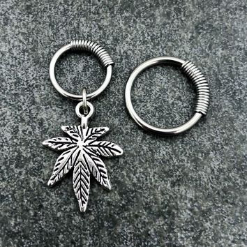 316L Surgical Stainless Solid Steel Pot leaf 16g, spring captive ring, Helix, cartilage, tragus earring