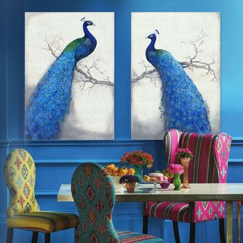Canvas Prints Home Decor Modern Animal Wall Art Painting Peacock Unframed Modern Vintage Blue Peacock Wall Painting Branch