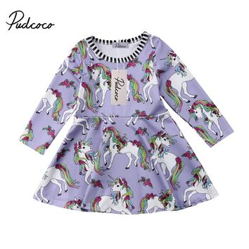 Cute Girls Dress Unicorn Kids Baby Girl Girls Long Sleeve Dresses Princess Clothes Dress Toddler Party Clothes 1-6T