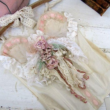 vintage bustier decoration romantic muted ivory to fleshy pink shabby cottage chic home decor prop or display garment anita spero design
