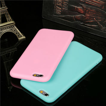 9 color Cute Candy Soft TPU Phone Cases for iPhone 6 6S 6Plus 6s plus 4.7 5.5 colorful protect shell with Dust plug+wire hole