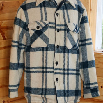 Western Field Montgomery Ward Blue and White Plaid Jacket/Shirt