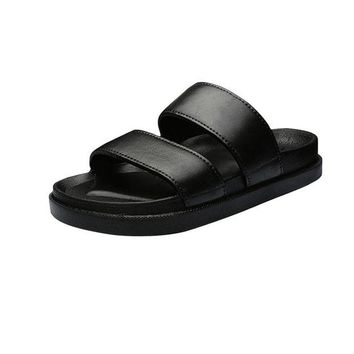 DCCKNY1 Sunbona Summer Couple Fashion Solid Anti-Slip Casual House Sandals Open Toe Slipper Shoes Indoor &Outdoor For Men And Women (Women Size:39(US:7-7.5), Black)