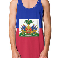 Haiti Flag AOP Loose Tank Top Single Side All Over Print