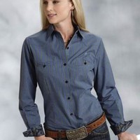 Roper Big Sky Windowpane Ladies Amarillo Collection- Forest Lake Long Sleeve Urban Western Wear