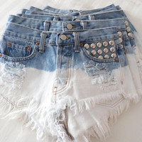 Vintage Studded High Waisted OMBRE Denim Shorts XS
