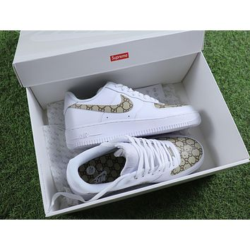 Tagre™ Best Online Sale Supreme x Gucci x Nike Air Force 1 White Brown Sport Shoes Sneaker