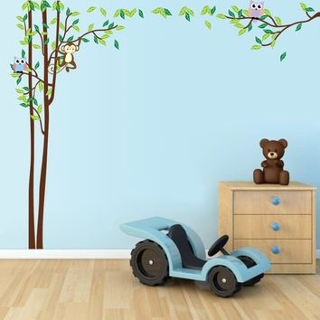 Monkey Owl Tree Wall Stickers Baby Nursery Decor Decal