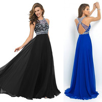 2016 Royal Blue Graduation Formal Dress Black Chiffon A line Sexy Prom Gowns with Crystals Elegant Long Prom Dresses