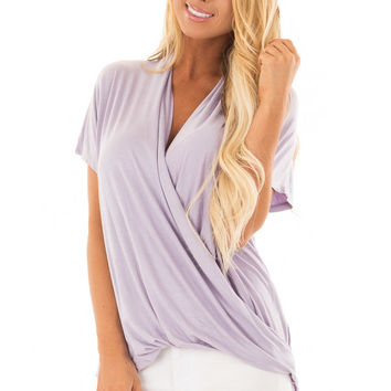 Lavender Short Sleeve Surplice Top